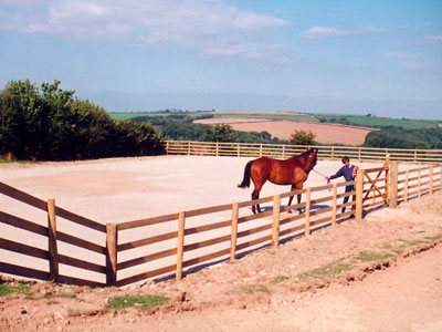 Equestrian arena topped with sand constructed by Luke Furse Earthmoving