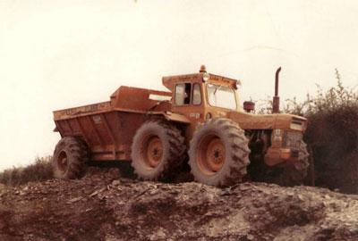 First Dump Truck owned by Luke Furse – County 1004 with a Goose Neck 12T Dump Trailer at work on local farm in Ashwater operated by Luke Furse, summer 1980