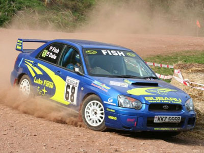 Richard Fishleigh and co-driver Sean Dale in action on a stage of the Somerset Stages Rally