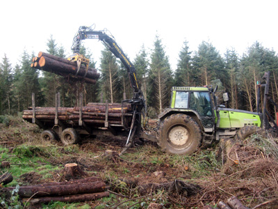 Timber extraction works being carried out by Luke Furse Earthmoving Ltd