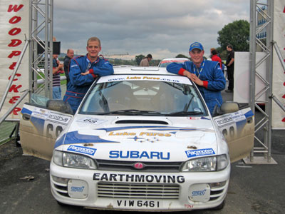 Lloyd Furse and Rob Short at the finish line of the Woodpecker Stages Rally where they were confirmed as British Trials and Rally Drivers Association Under 21 Champions for 2006